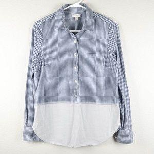 J Crew 6 Blue Gingham Fade Plaid Popover Shirt